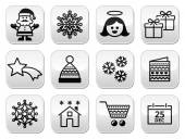 Christmas, Xmas celebrate buttons set — Vector de stock