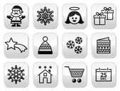Christmas, Xmas celebrate buttons set — Vettoriale Stock