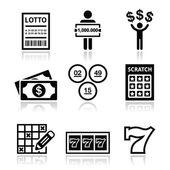 Winning money on lottery, slot machine icons set — Stock Vector