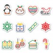Christmas, winter icons with stroke - penguin, Christmas pudding — Stock Vector #56898877