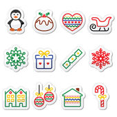 Christmas, winter icons with stroke - penguin, Christmas pudding — Stock Vector