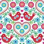 Постер, плакат: Folk art seamless pattern with flowers and birds