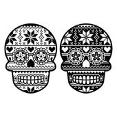 Mexican black sugar skull with winter Nordic pattern — Stock vektor