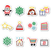 Christmas, Xmas celebrate icons set — Vettoriale Stock