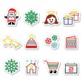 Christmas, Xmas celebrate icons set — Stockvektor