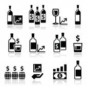 Alternative investments - investing money in wine and whisky icons — Vector de stock