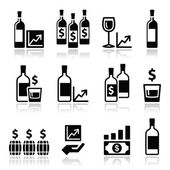 Alternative investments - investing money in wine and whisky icons — Stockvektor