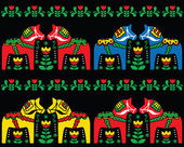 Swedish Dala horse folk art seamless pattern on black — Stock Vector