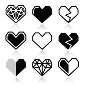 Geometric heart for Valentine's Day icons — Stock Vector