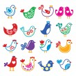 Folk art colorful birds vector icons set — Stock Vector #57384103