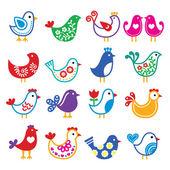 Folk art colorful birds vector icons set — Stock Vector