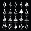 Christmas tree white icons set isolated on black — Stock Vector #57510391