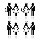 Wedding couple - devil and angel bride and groom icons — Stock Vector