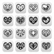 Folk hearts with flowers and birds buttons set — Stock Vector #57524103
