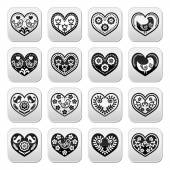 Folk hearts with flowers and birds buttons set — Stock Vector
