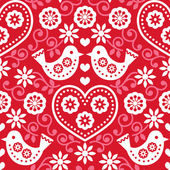 Folk art red seamless pattern with flowers and birds — Stock Vector