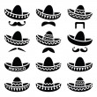 Постер, плакат: Mexican Sombrero hat with moustache or mustache icons