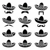 Mexican Sombrero hat with moustache or mustache icons — Stock Vector