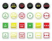 Easy, medium, hard level with stars icons set — Stock Vector