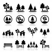Trees, forest, park vector icons set — Stock Vector
