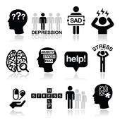 Depression, stress icons set - mental health concept — Stock Vector