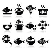 Fish meals icons - soup, chowder, goulash, fried fish — Stock Vector