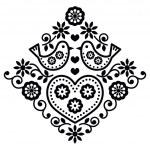 Постер, плакат: Folk art floral black vector pattern with birds