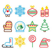 Christmas colored icons with stroke - Xmas tree, angel, snowflake — Stockvector