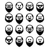 Bald man with beard and mustache icons set — Stock Vector