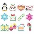 Christmas, winter icons with stroke - penguin, Christmas pudding — Stock Vector #58513673