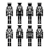 Christmas nutcracker - soldier figurine black icons set — Stock Vector