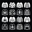 ������, ������: Ugly Christmas sweater on jumper white icons set