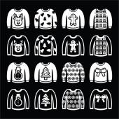 Ugly Christmas sweater on jumper white icons set — Stock Vector