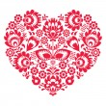 Valentines Day folk art red heart - Polish pattern Wzory Lowickie, Wycinanki — Stock Vector #58802117
