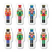Christmas nutcracker - soldier figurine icons set — Stock Vector