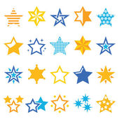 Stars gold and blue vector icons — Stock Vector