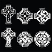 Irish, Scottish Celtic white cross on black — Stock Vector