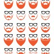 Ginger beard and glasses, hipster icons set — Vector de stock  #59515695