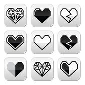 Geometric heart for Valentine's Day grey square buttons — Vettoriale Stock