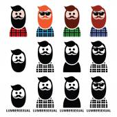 Lumbersexual man, lumberjack - fashion trend icons set — Stock Vector
