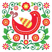 Folk art vector pattern with bird and flowers — Vettoriale Stock
