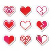 Geometric heart for Valentine's Day icons — Wektor stockowy