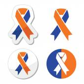 Navy blue and orange ribbons - family caregivers awareness icons — Stock Vector