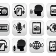 Radio, podcast app on smartphone and tablet buttons set — Stock Vector #60834619