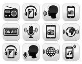 Radio, podcast app on smartphone and tablet buttons set — Stock Vector