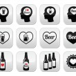 Man loving beer vector buttons set — Stock Vector #61284095