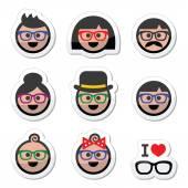 People wearing glasses, geek labels set — Stock Vector