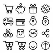 Shopping, online store icons set- line, stroke style — Stockvektor