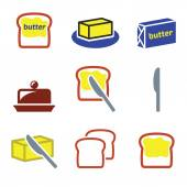 Butter or margarine vector icons set — Stock Vector