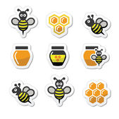 Bee and honey vector icons set — Stock vektor